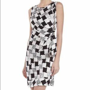 DVF New Della Washed Silk Twill Houndstooth Dress